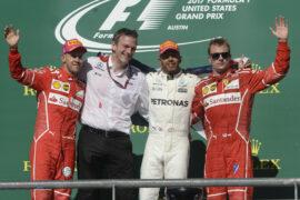 Winners on stage USGP F1/2017 Lewis Hamilton, Sebastian Vettel and Kimi Raikkonen