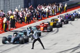 Usain Bolt green flag moment at Circuit of the Americas, Austin, Texas, United States of America.Sunday 22 October 2017