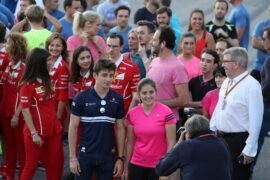 Charles Leclerc (MON) Sauber F1 Team. Tatiana Calderon (COL), Sauber F1 Team development driver. Drive for the Cancer Cure run. Circuit of the Americas United States GP 2017