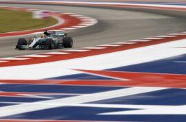 Lewis Hamilton driving the Mercedes W09 on COTA