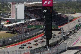 Formula One - Mercedes-AMG Petronas Motorsport, United States GP 2017. Lewis Hamilton leading all other drivers.