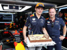 Max Verstappen & Christian Horner celebrating Birthday of Max Malaysian GP F1/2017