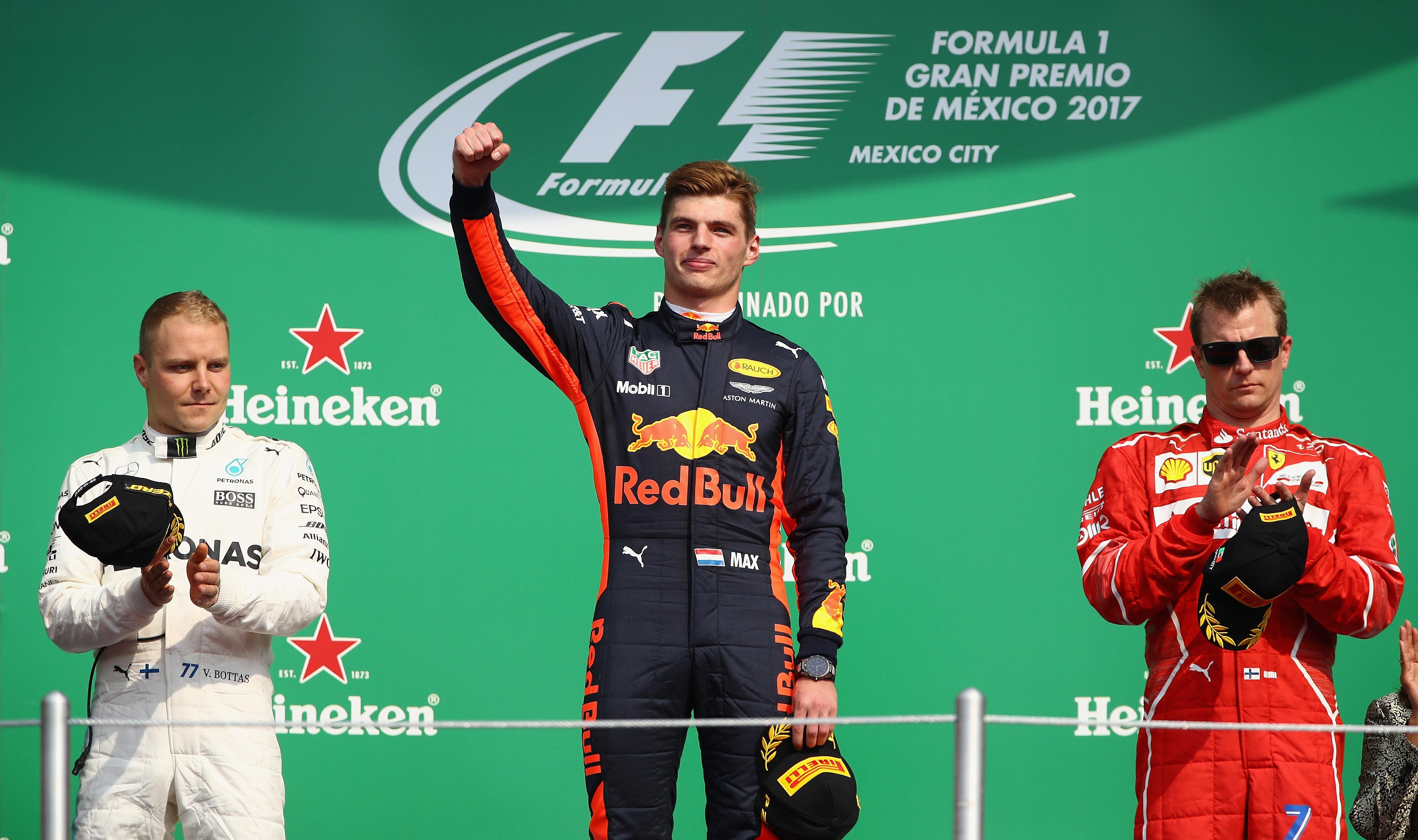 Max Verstappen, Valtteri Bottas and Kimi Raikkonen on the podium Mexico GP F1/2017