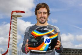 Circuit of the Americas, Austin, Texas, United States of America. Thursday 19 October 2017. Fernando Alonso, McLaren, with his Indy 500 helmet design he also wears for the US Grand Prix.