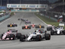 Sepang International Circuit, Sepang, Malaysia. Sunday 1 October 2017. Lance Stroll, Williams FW40 Mercedes, leads Esteban Ocon, Force India VJM10 Mercedes, and Felipe Massa, Williams FW40 Mercedes, at the start.