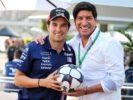(L to R): Sergio Perez (MEX) Sahara Force India F1 with Ivan Zamorano (CHL) Former Football Player. Mexican Grand Prix, Thursday 26th October 2017. Mexico City, Mexico.