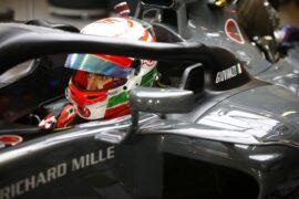 Antonio Giovinazzi with halo Haas Yas Marina Circuit, Abu Dhabi, United Arab Emirates 2017.