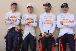 Brendon Hartley, Pierre Gasly, Daniel Ricciardo & Max Verstappen Abu Dhabi GP F1/2017