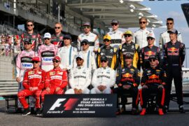The drivers end of season group photograph. Abu Dhabi Grand Prix, Sunday 26th November 2017. Yas Marina Circuit, Abu Dhabi, UAE.