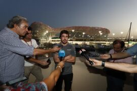 Yas Marina Circuit, Abu Dhabi, United Arab Emirates. Thursday 23 November 2017. Fernando Alonso, McLaren, gives an interview.