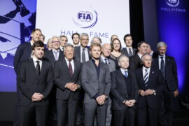 F1 champions at the opening of the FIA Hall of Fame in Paris: Sebastian Vettel, Jacques Villeneuve, Alain Prost, Nigel Mansell, Damon Hill, Fernando Alonso, Mario Andretti, NIco Rosberg, Jean Todt and Jacky Stewart