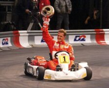 "MICHAEL SCHUMACHER AND RUBENS BARRICELLO AT THE ""KART-EXPLOSION"" RACE IN COLOGNE AT THE K.LN ARENA"