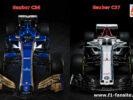 Sauber C36 VS Sauber C37 front comparison