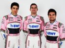 (L to R): Esteban Ocon (FRA) Sahara Force India F1 Team with Nicholas Latifi (CDN) Sahara Force India F1 Team Development Driver and Sergio Perez (MEX) Sahara Force India F1. Sahara Force India F1 Team Studio Shoot, Friday 16th February 2018. Silverstone, England.