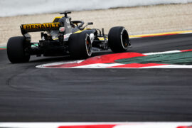 Nico Hulkenberg testing the Renault RS18 with special exhaust in Barcelona, Spain.