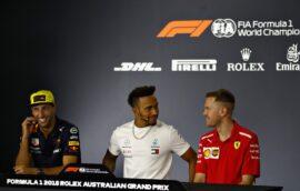 Daniel Ricciardo, Lewis Hamilton & Sebastian Vettel Australian GP F1/2018