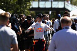 Max Verstappen Red Bull with press Australian GP F1/2018