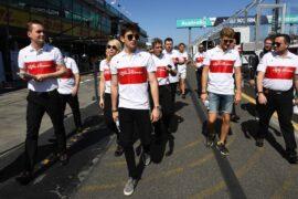 Charles Leclerc (MON) Alfa Romeo Sauber F1 Team and Marcus Ericsson (SWE) Alfa Romeo Sauber F1 Team walk the track at Formula One World Championship, Rd1, Australian Grand Prix, Preparations, Melbourne, Australia, Wednesday 21 March 2018.
