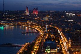 Night view at Baku City Visit, Baku, Azerbaijan