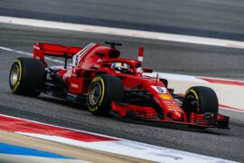 Sebastian Vettel in his Ferrari SF71H at Bahrain 2018