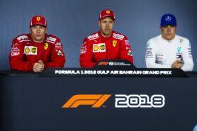 Kimi Raikkonen, Sebastian Vettel and Valteri Bottas in the press conference Bahrain 2018