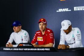 Valtteri Bottas, Sebastian Vettel & Lewis Hamilton Bahrain GP F1/2018