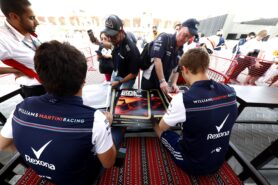 Bahrain GP F1/2018 Lance Stroll, Williams Racing, and Sergey Sirotkin, Williams Racing, signs autographs for fans.