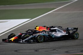 Max Verstappen Red Bull & Lewis Hamilton Mercedes Bahrain GP F1/2018