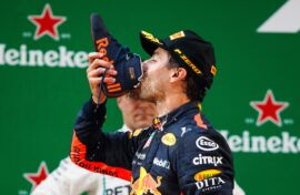 Daniel Ricciardo doing a shoey after being the winner of the 2018 Chinese GP