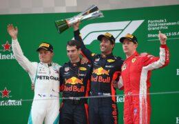 2018 Chinese GP podium: 1. Ricciardo, 2. Bottas, 3. Raikkonen