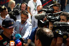 Max Verstappen of Red Bull Racing talks to the media in the Paddock during previews ahead of the Azerbaijan Formula One Grand Prix 2018