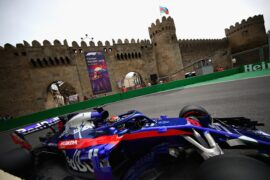 Brendon Hartley of New Zealand driving the (28) Scuderia Toro Rosso STR13 Honda on track during practice for the Azerbaijan Formula One Grand Prix 2018