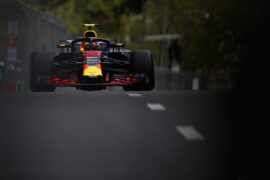 Max Verstappen of the Netherlands driving the (33) Aston Martin Red Bull Racing RB14 TAG Heuer on track during practice for the Azerbaijan Formula One Grand Prix 2018