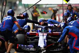 Brendon Hartley of New Zealand driving the (28) Scuderia Toro Rosso STR13 Honda stop in the Pitlane during practice for the Azerbaijan Formula One Grand Prix 2018
