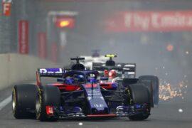 Brendon Hartley of New Zealand driving the (28) Scuderia Toro Rosso STR13 Honda on track during the Azerbaijan Formula One Grand Prix 2018