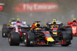 Daniel Ricciardo of Australia driving the (3) Aston Martin Red Bull Racing RB14 TAG Heuer on track during the Azerbaijan Formula One Grand Prix 2018