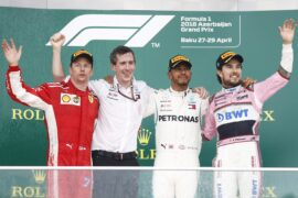 Winners Azerbaijan GP F1/2018 Kimi Raikkonen, Lewis Hamilton & Sergio Perez 2018