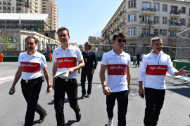 Charles Leclerc Sauber F1 Team and Xevi Pujolar F1 Team Head of Track Engineering walk the track at Formula One World Championship, Rd4, Azerbaijan Grand Prix 2018.