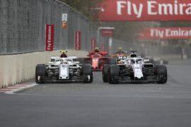 Charles Leclerc Sauber C37 and Lance Stroll Williams FW41 battle at Formula One World Championship, Rd4, Azerbaijan Grand Prix 2018.