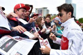 Charles Leclerc Sauber F1 Team at the fans autograph session at Formula One World Championship, Rd4, Azerbaijan Grand Prix, 2018.
