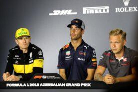 The FIA Press Conference Nico Hulkenberg; Daniel Ricciardo; Kevin Magnussen. Azerbaijan Grand Prix, 2018