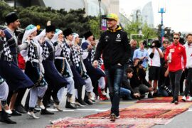 Nico Hulkenberg (GER) Renault Sport F1 Team on the drivers parade. Azerbaijan Grand Prix, Sunday 29th April 2018. Baku City Circuit, Azerbaijan.