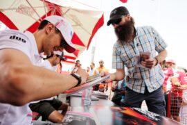 Esteban Ocon (FRA) Sahara Force India F1 Team signs autographs for the fans. Bahrain Grand Prix, Sunday 8th April 2018. Sakhir, Bahrain.