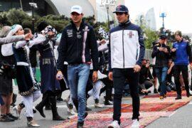 Esteban Ocon (FRA) Sahara Force India F1 Team and Lance Stroll (CDN) Williams on the drivers parade. Azerbaijan Grand Prix 2018