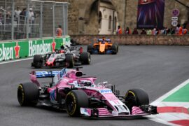 Sergio Perez (MEX) Sahara Force India F1 VJM11. Azerbaijan Grand Prix, Sunday 29th April 2018. Baku City Circuit, Azerbaijan.