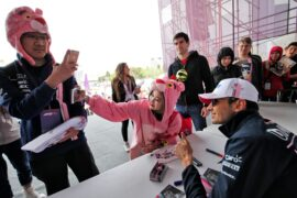 Esteban Ocon (FRA) Sahara Force India F1 Team signs autographs for the fans. Azerbaijan Grand Prix, Sunday 29th April 2018. Baku City Circuit, Azerbaijan.