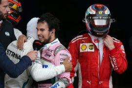 Race winner celebrates in parc ferme with third placed Sergio Perez (MEX) Sahara Force India F1 and second placed Kimi Raikkonen (FIN) Ferrari. Azerbaijan Grand Prix 2018