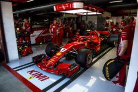 Ferrari SF71H with halo mirrors and winglets of Kimi Raikkonen