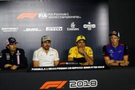 The FIA Press Conference: Sergio Perez Sahara Force India F1; Fernando Alonso McLaren; Carlos Sainz Jr Renault Sport F1 Team; Brendon Hartley Scuderia Toro Rosso. Spanish Grand Prix 2018