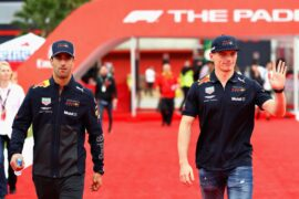 Daniel Ricciardo and Max Verstappen walk during previews ahead of the Spanish Formula One Grand Prix at Circuit de Catalunya on May 10, 2018 in Montmelo, Spain.